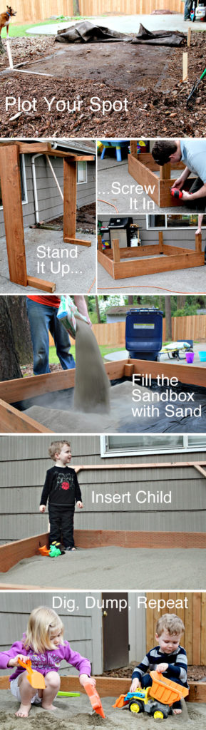 Wooden sandbox with doors