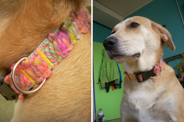 Yarn applique collar