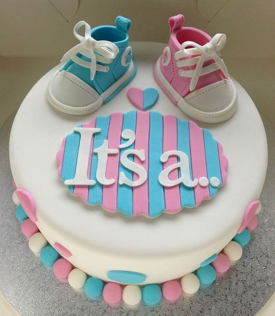 Baby shoe gender reveal cake
