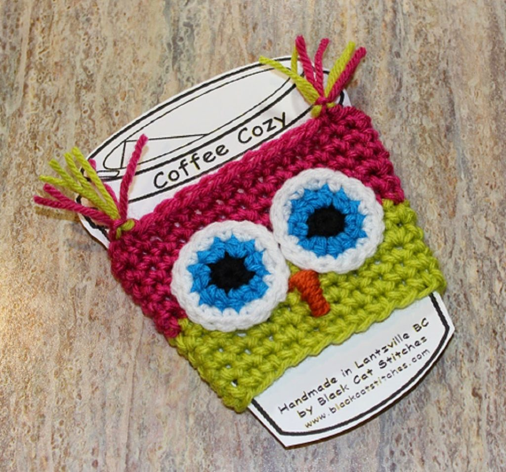Owl coffee cozy 009