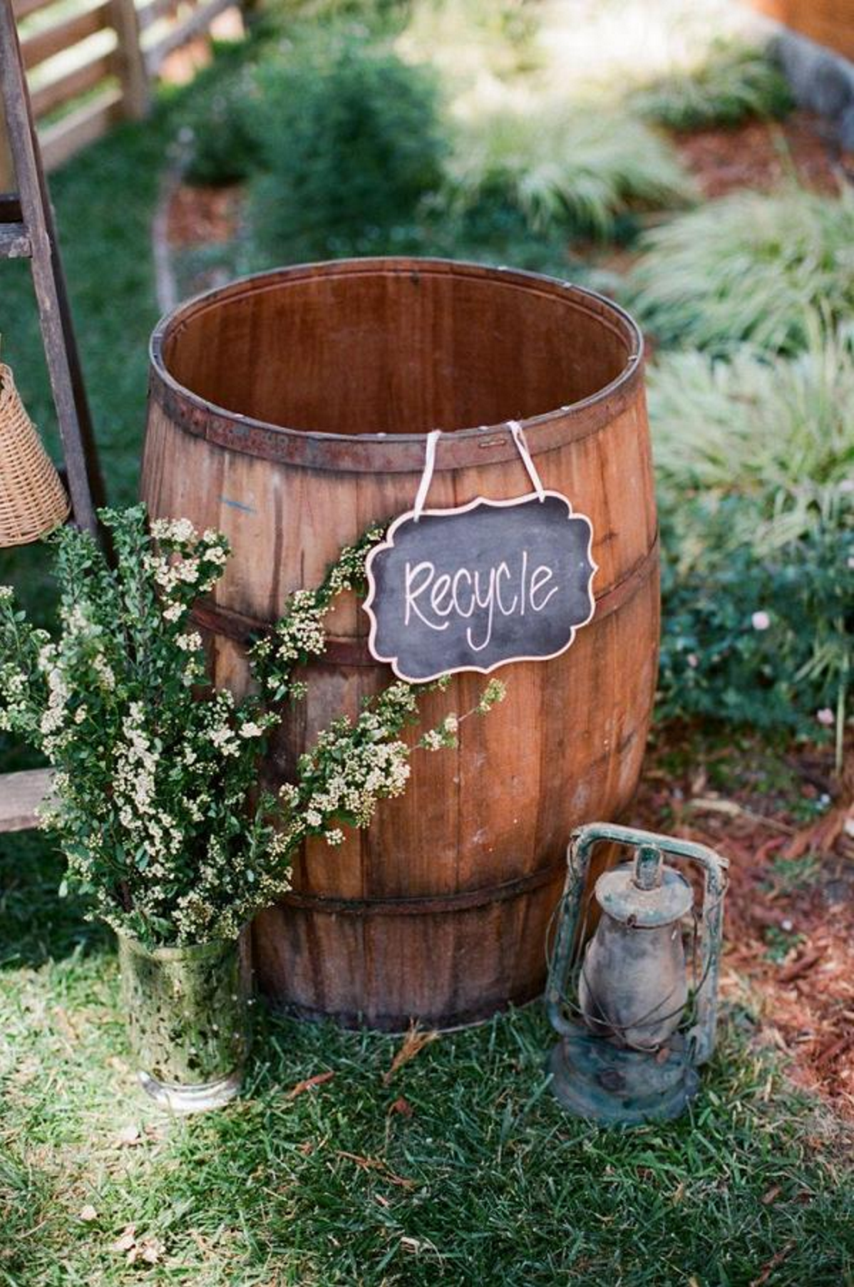 barrel recycle bin rustic