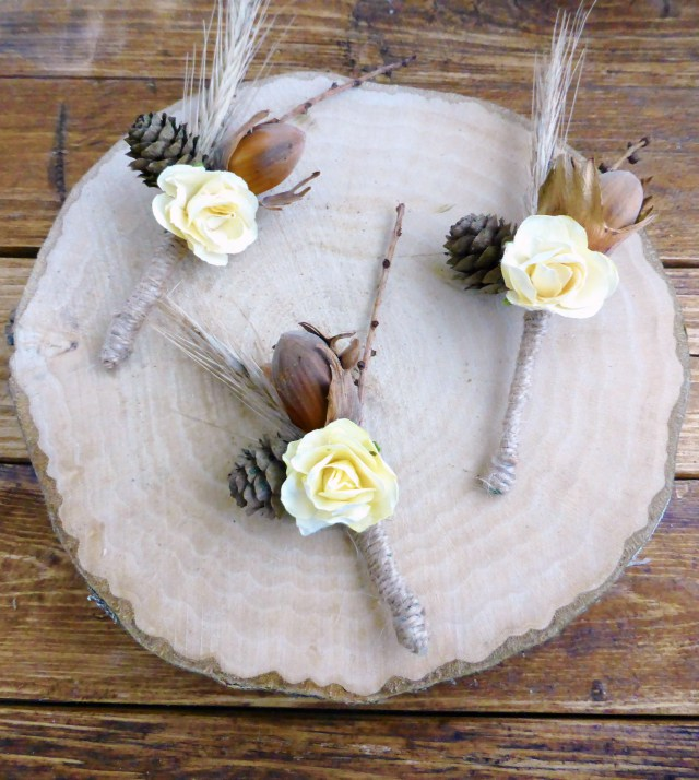 3 rustic boutonniere