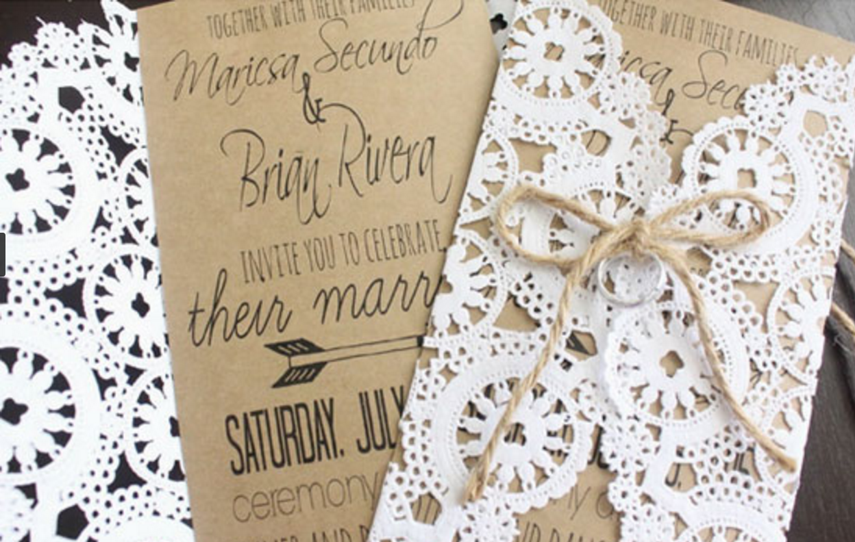 34 doily kraft paper invitations