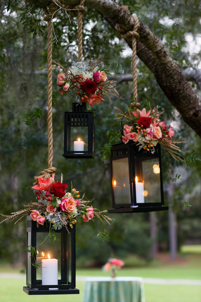 floral wedding lanterns