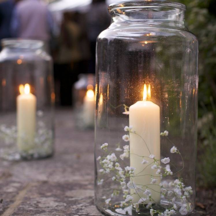 babys breath jar candle