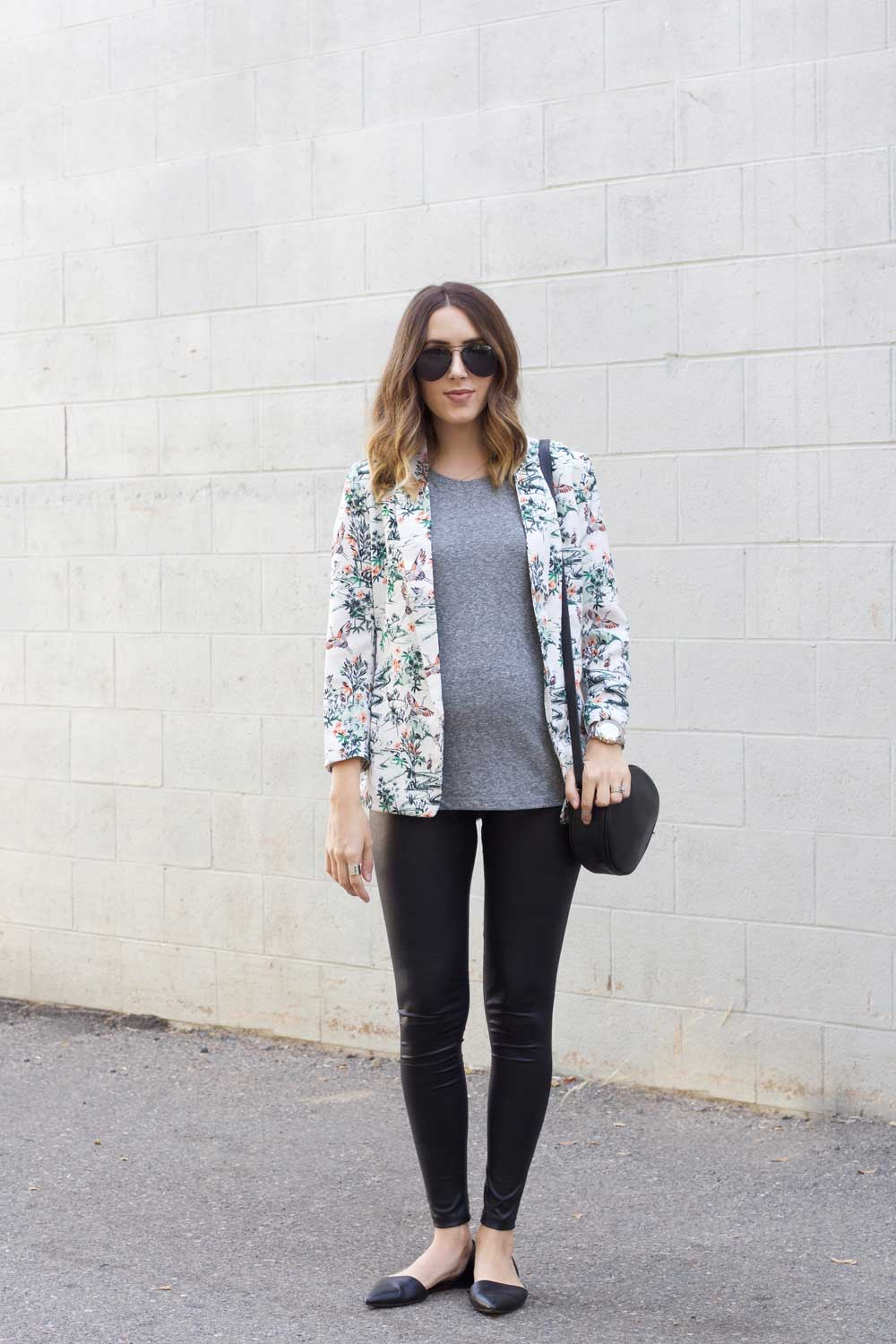 5 leggings floral blazer