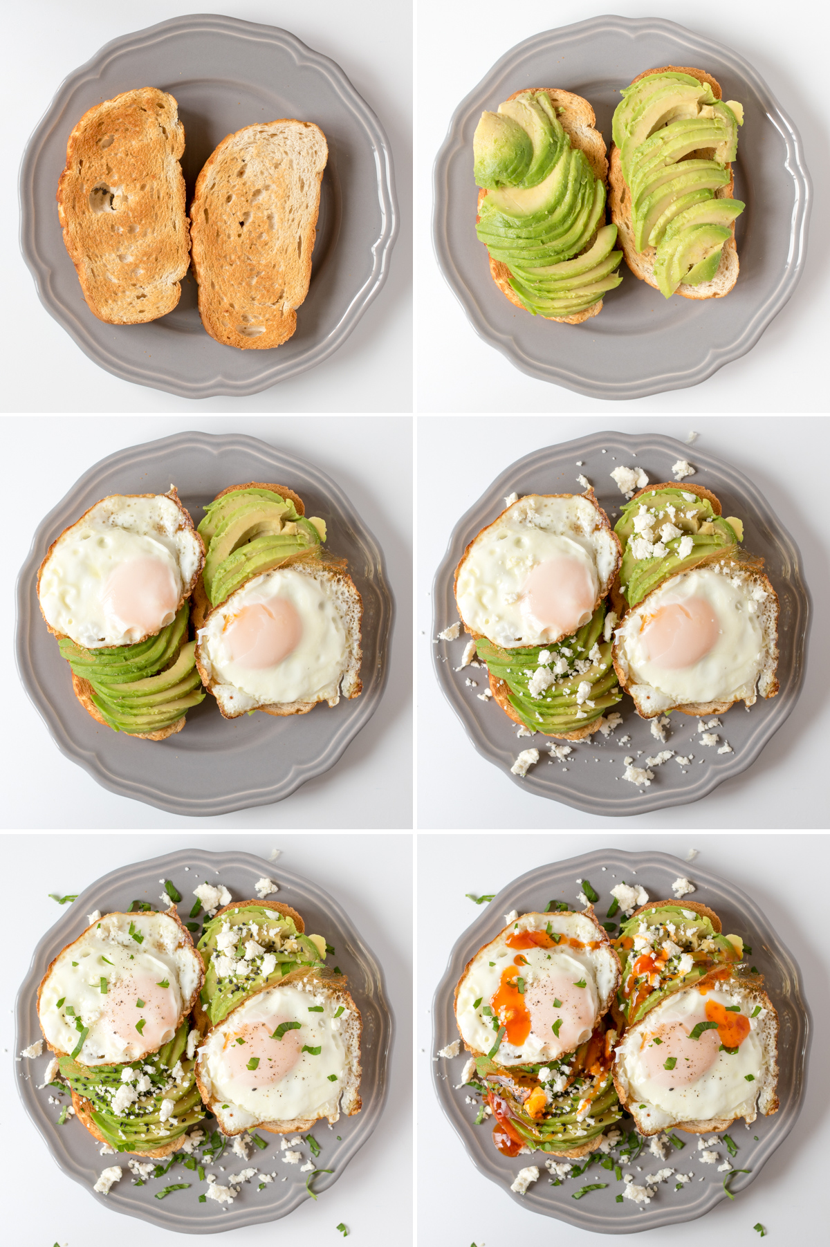 Avocado breakfast toasts step 4 collage