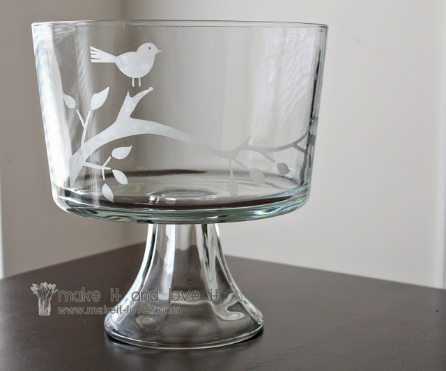 Bird etched trifle bowl