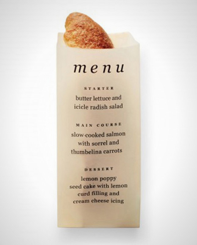 Bread sleeve menu
