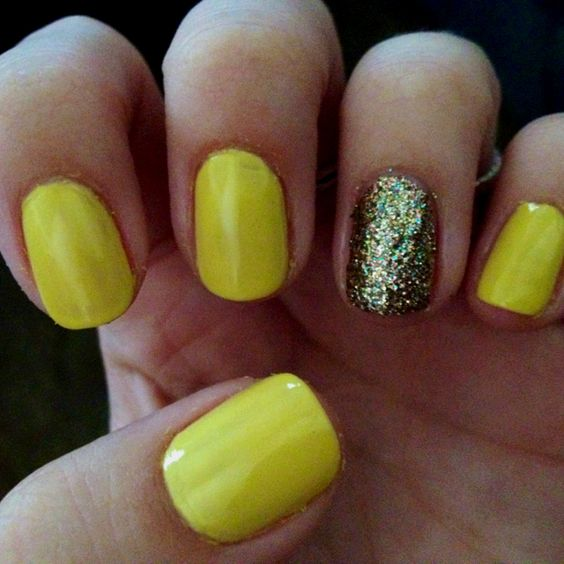 Bright Yellow With A Gold And Green Glitter Accent