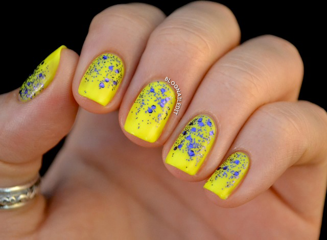 Bright yellow with blue glitter nail beds