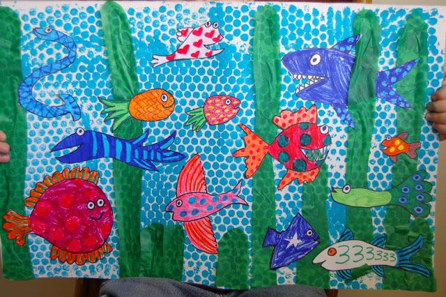 Bubble wrap fish mural