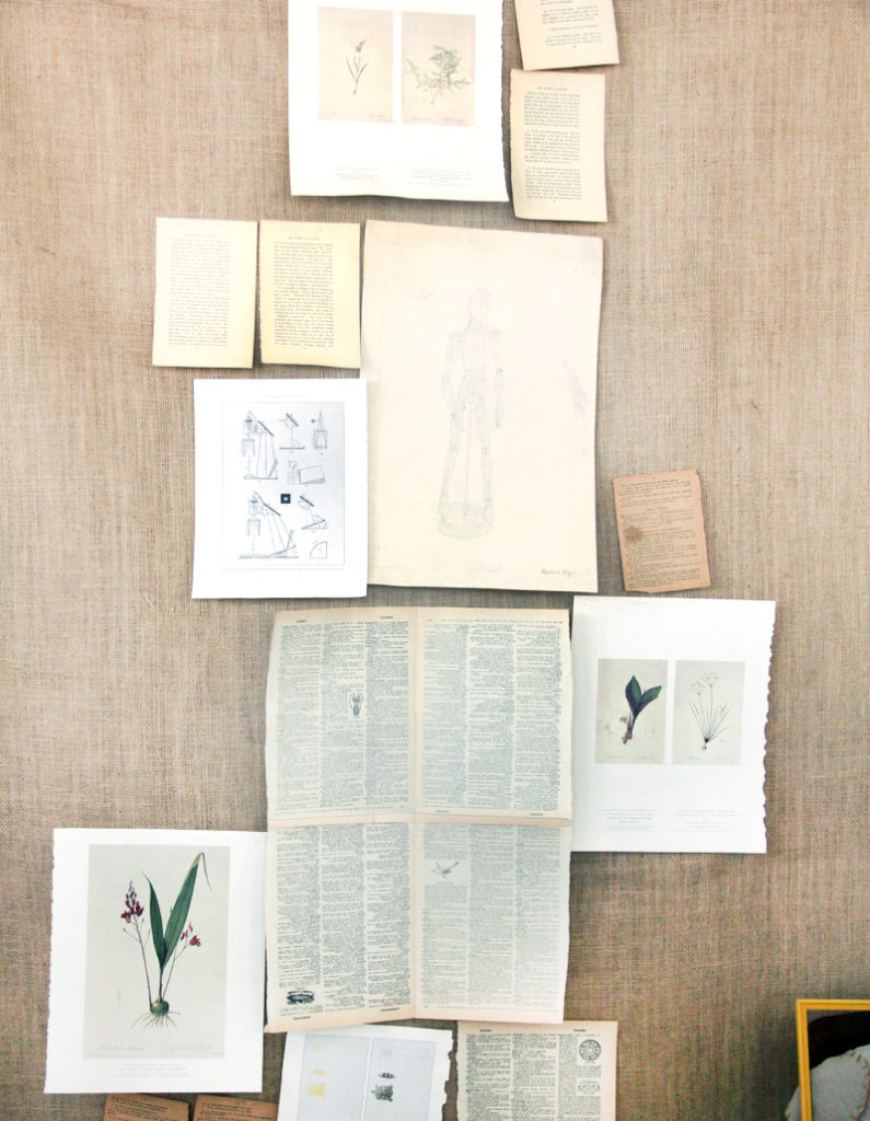 Burlap and old book pages