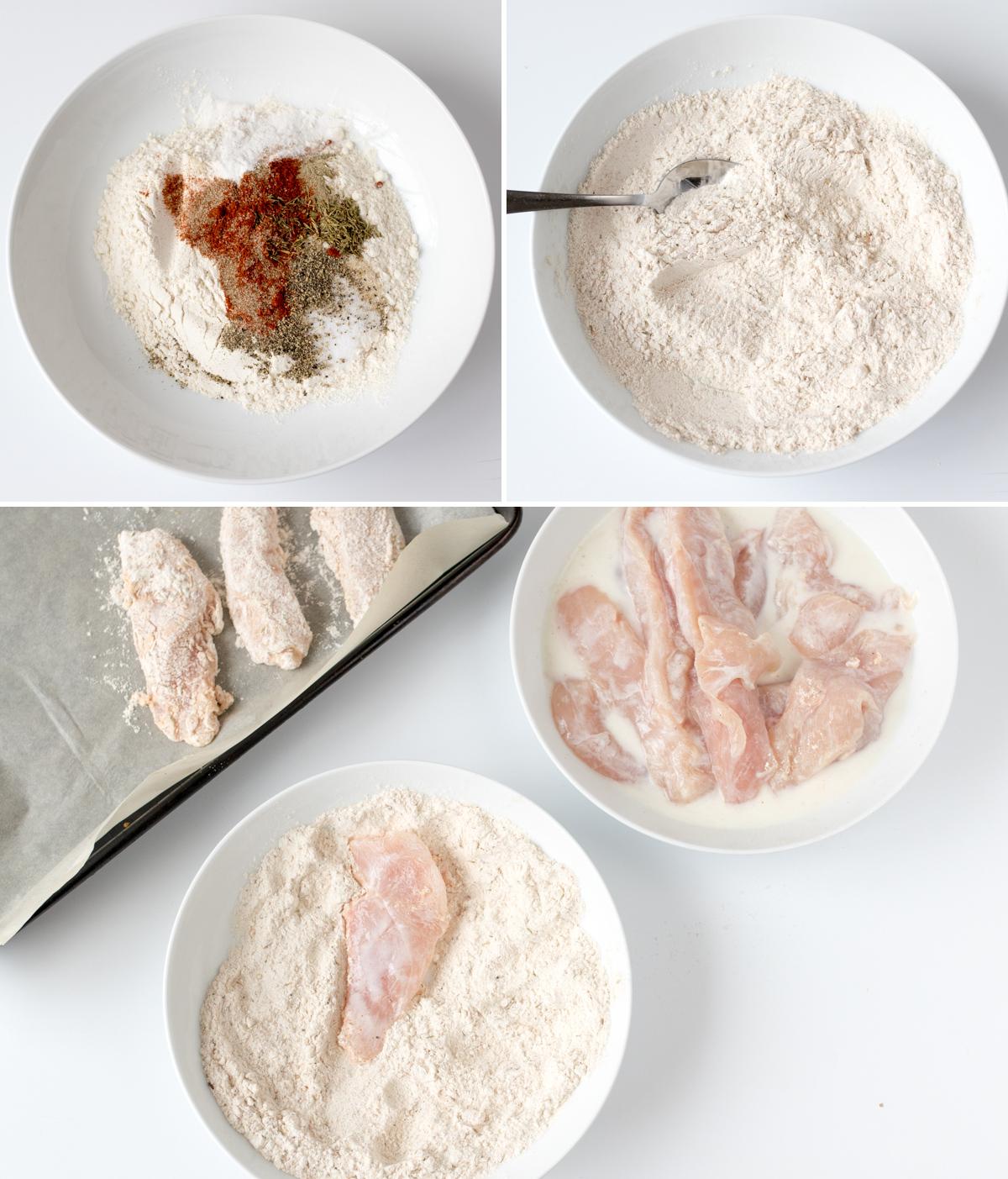 Buttermilk chicken tenders with honey mustard dip step 3 collage