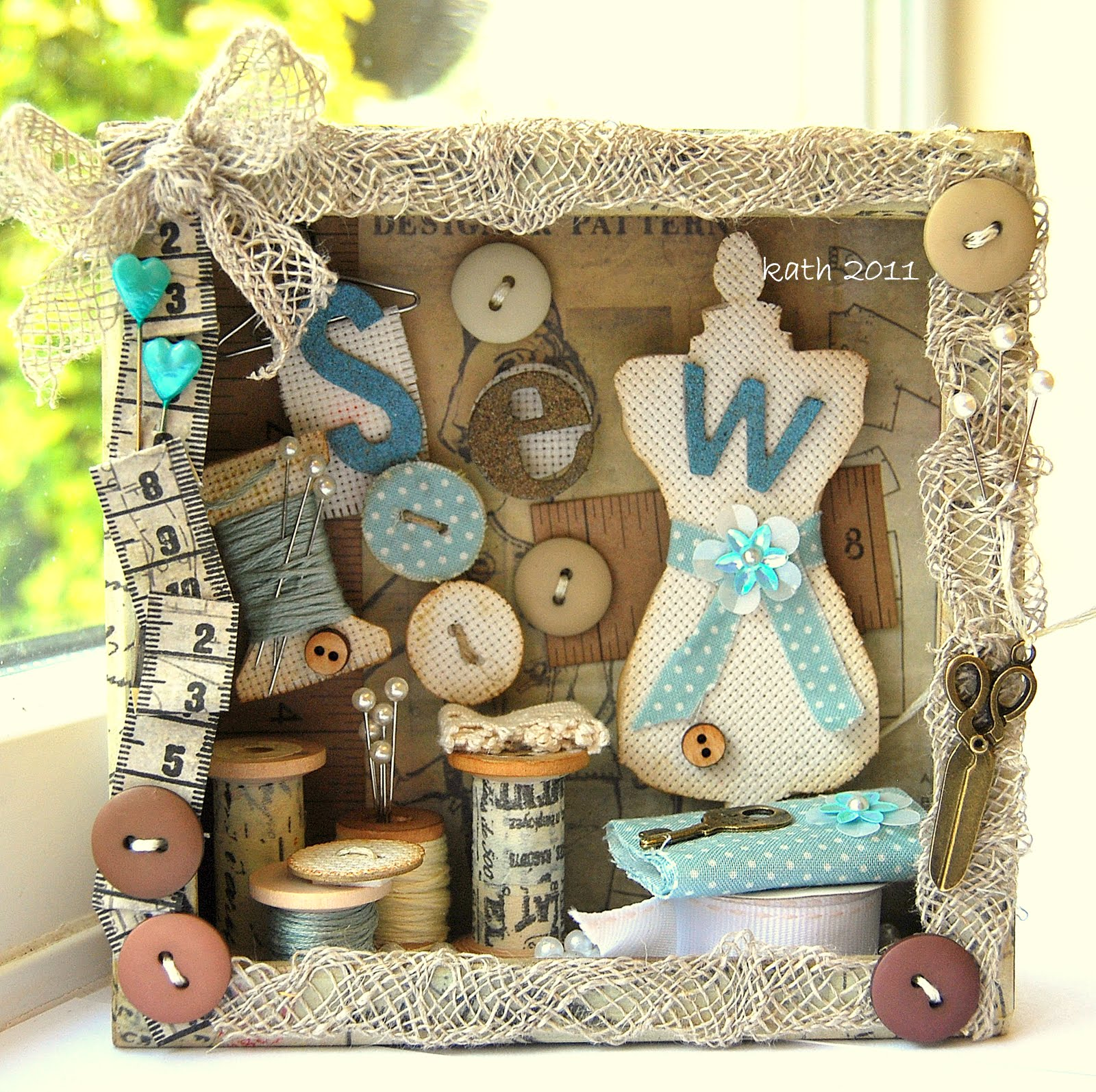 Buttons, spools, and sewing trinkets