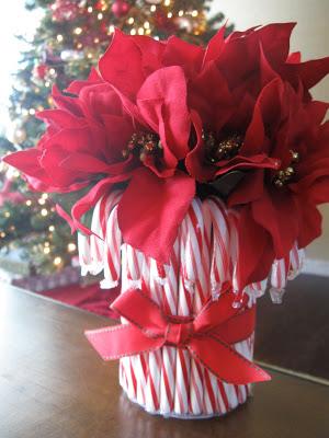 Candy cane flower vase