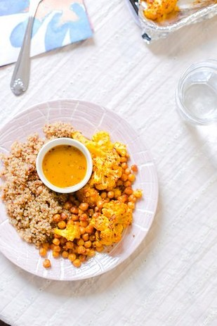 Cauliflower, quinoa, and chickpeas roasted with tumeric