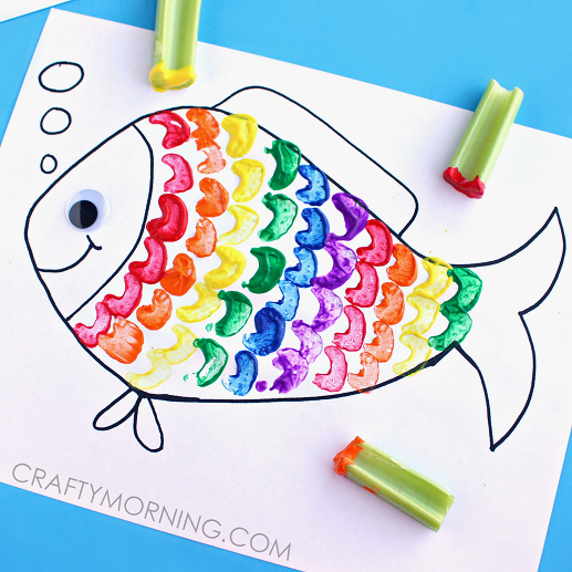 Celery stamped rainbow fish