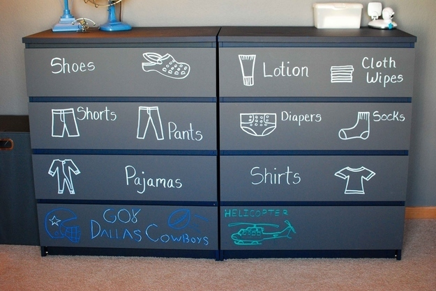 Chalk labelled dresser drawers