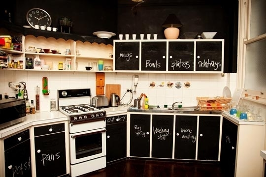 Chalk labelled kitchen cupboards
