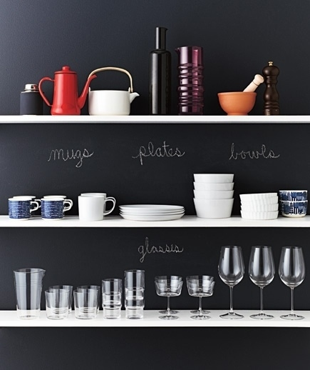 Chalk labelled kitchen shelves