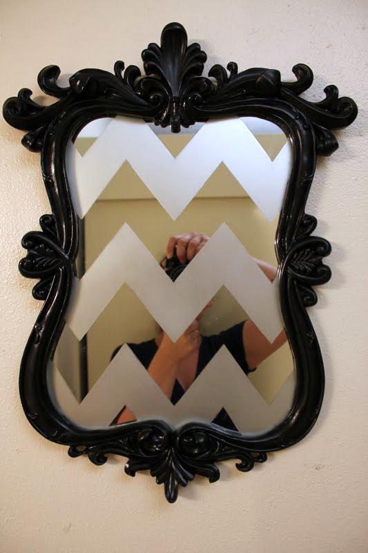 Chevron etched mirror