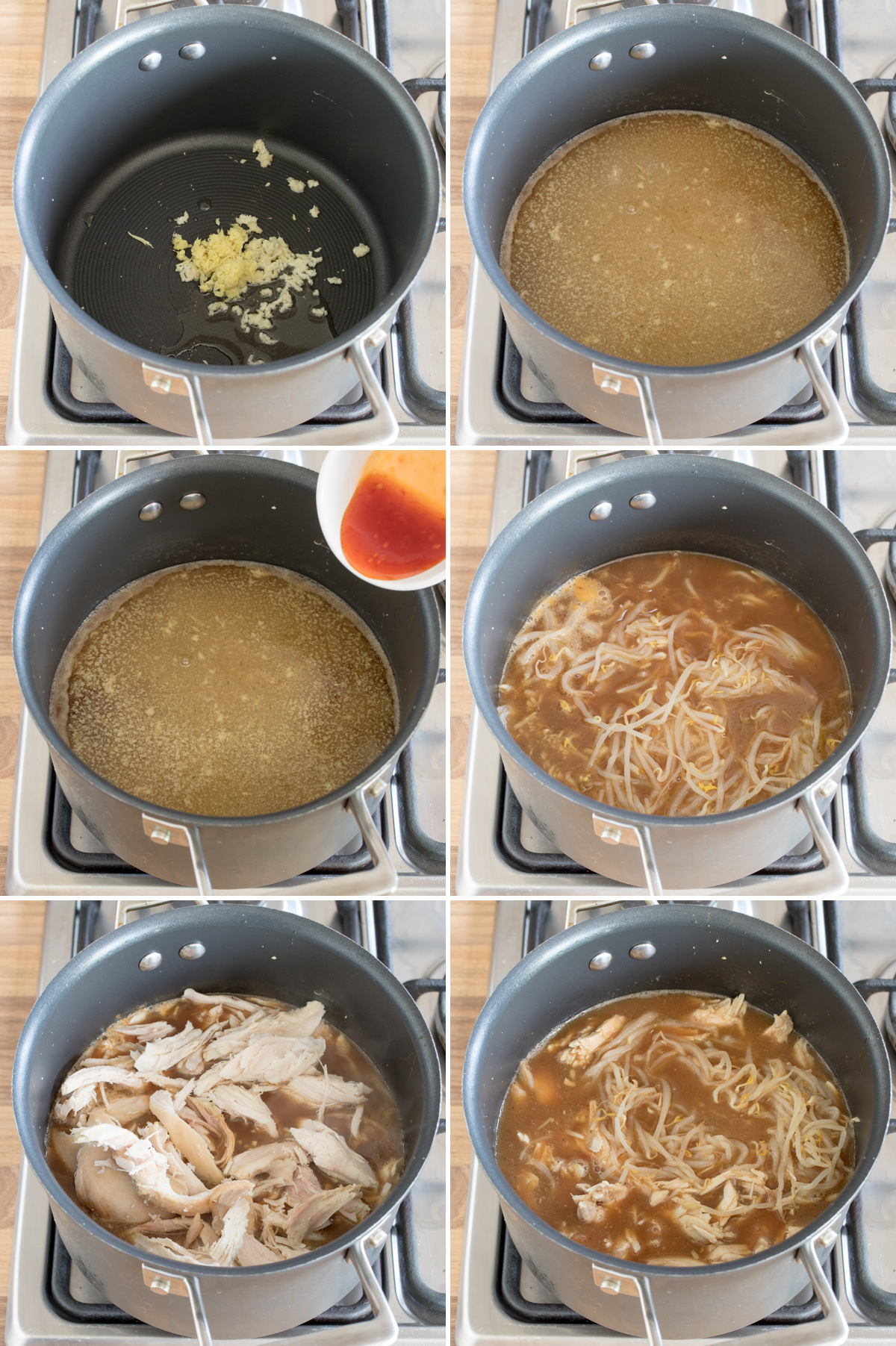 Chicken pho step 1 collage