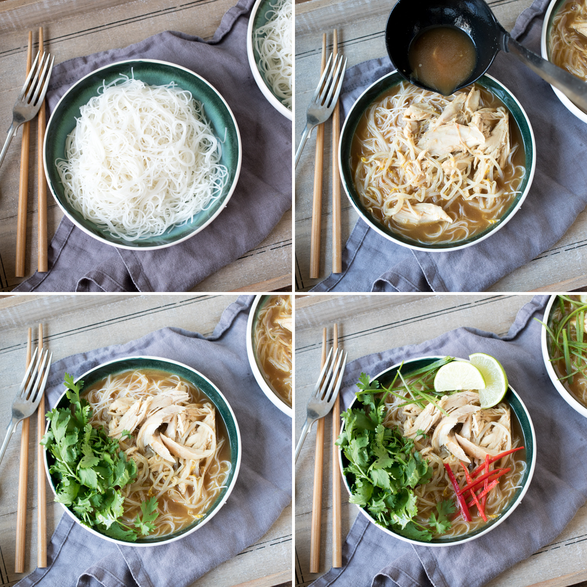 Chicken pho step 2collage