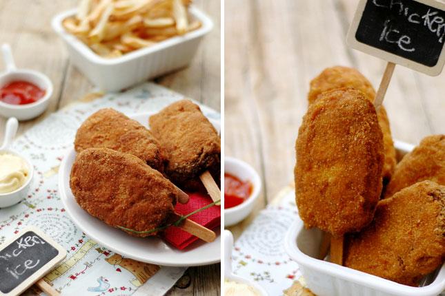 Chicken nuggest on a stick