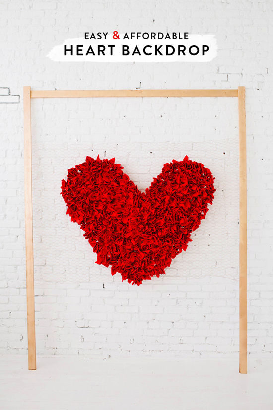 Chicken wire and napkin heart backdrop