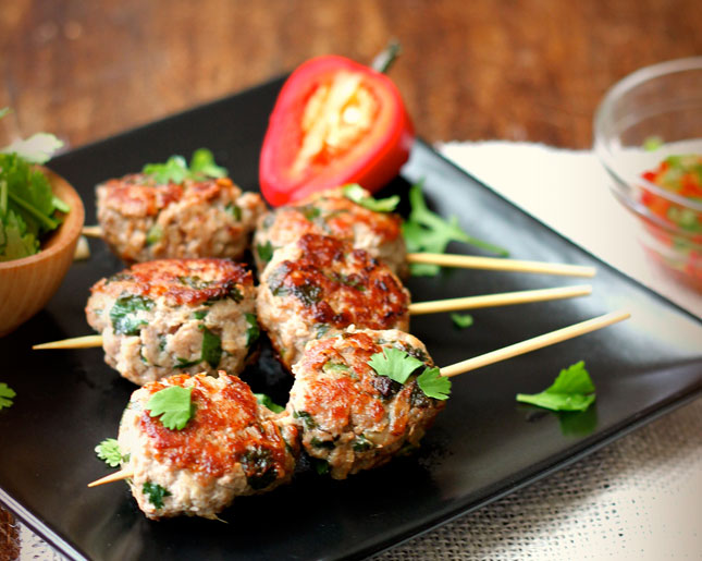 Chinese meatballs on a stick