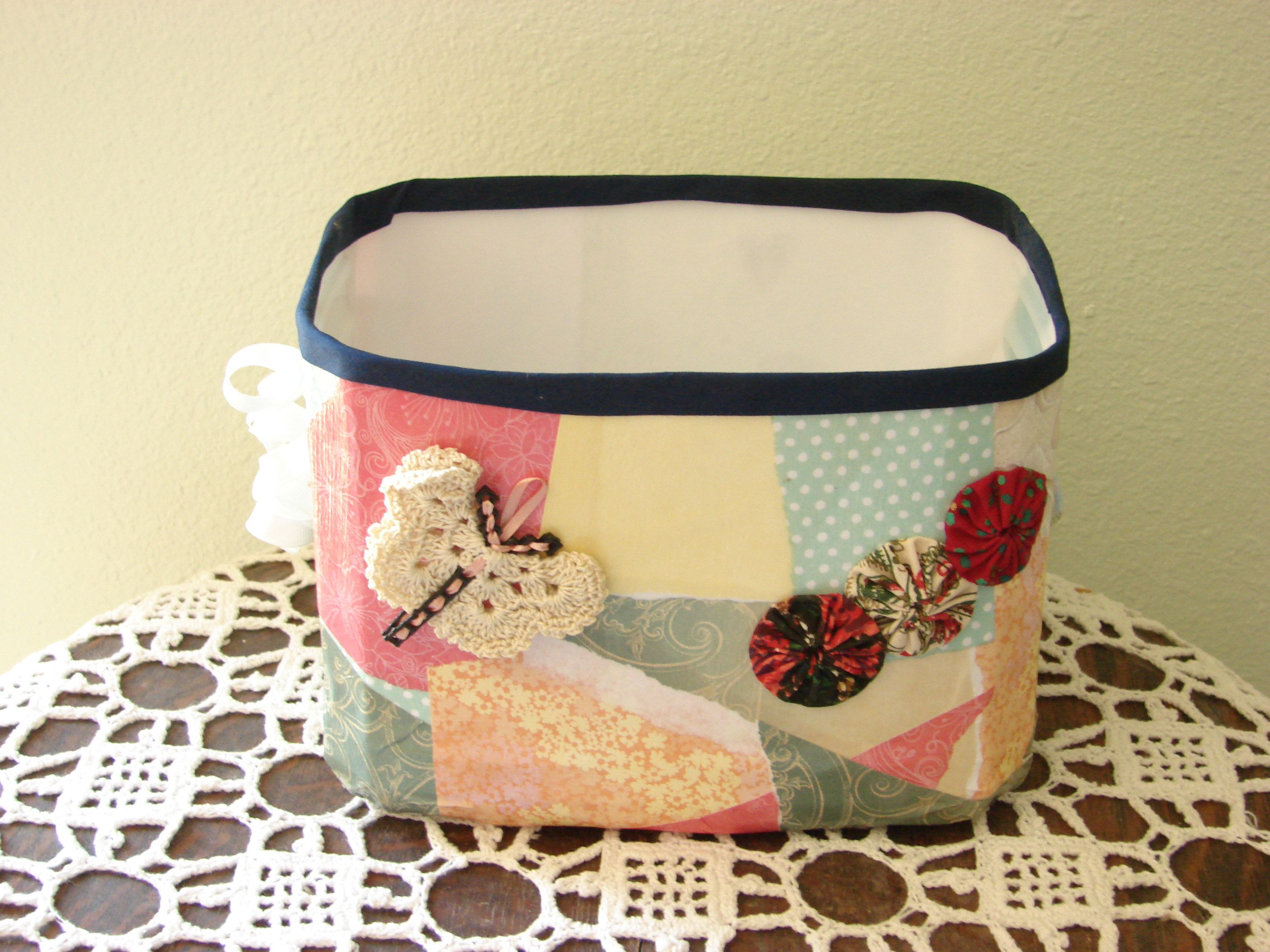 Cute fabric covered storage tub
