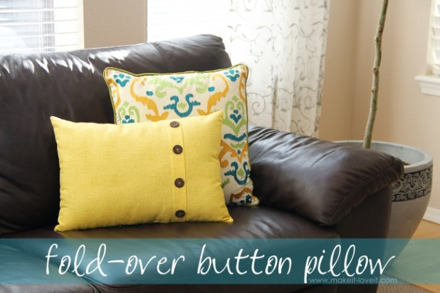 Diy fold over buttoned pillow case