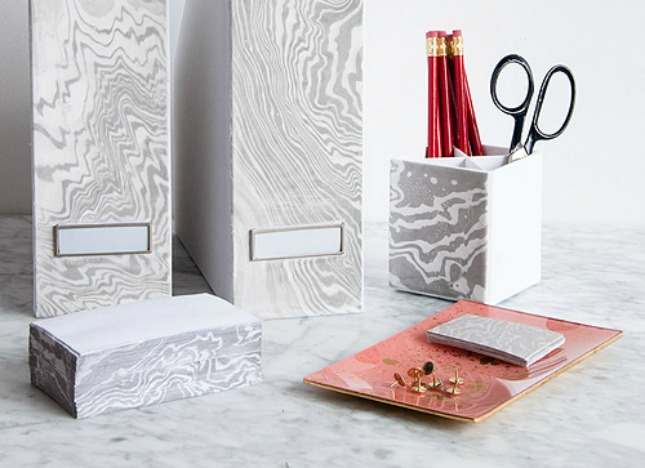 Diy marbled office supplies