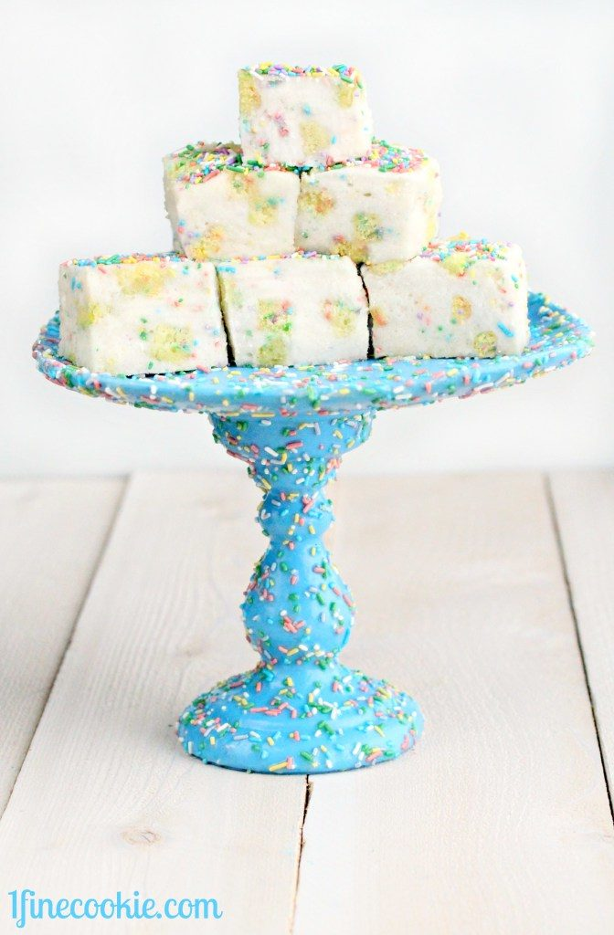Diy sprinkled plate and candlestick cake stand