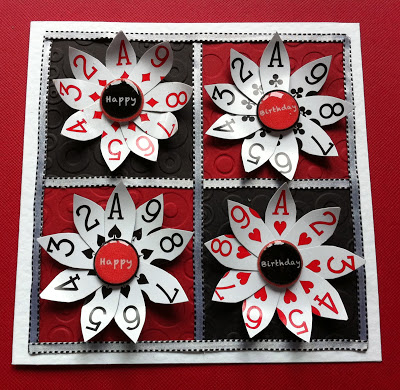 Daisy shaped playing card birthday message