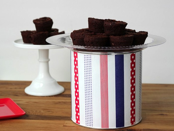 Decorated coffee can cake stand