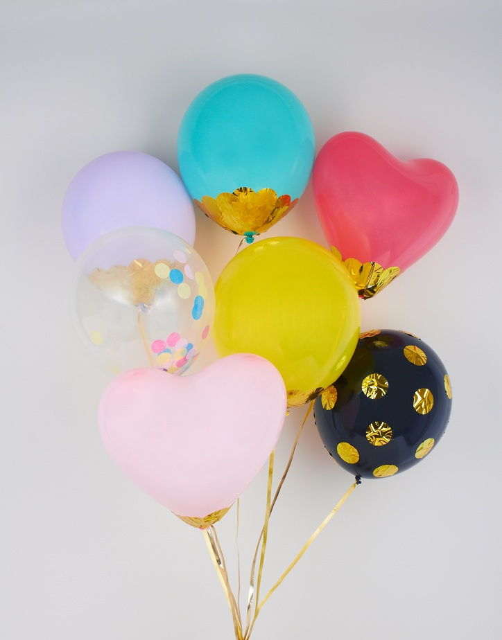 Decoupaged colourful confetti balloons