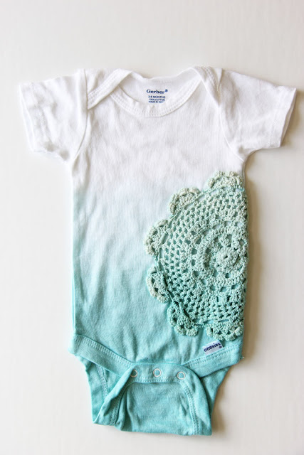 Dip dyed and doily onesies