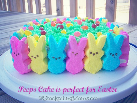 Easter peeps and jelly bean cake