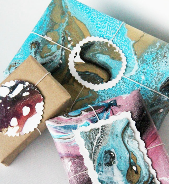 Easy marbled gift paper