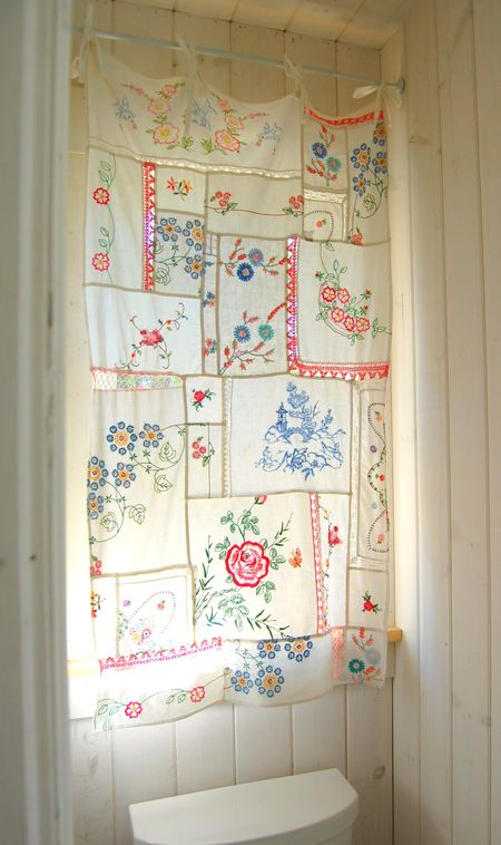 Embroidered linen patchwork curtains