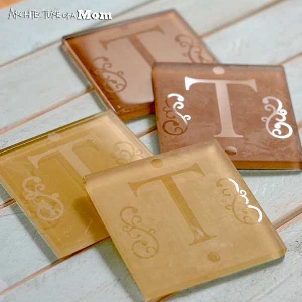 Etched monogrammed glass tile coasters