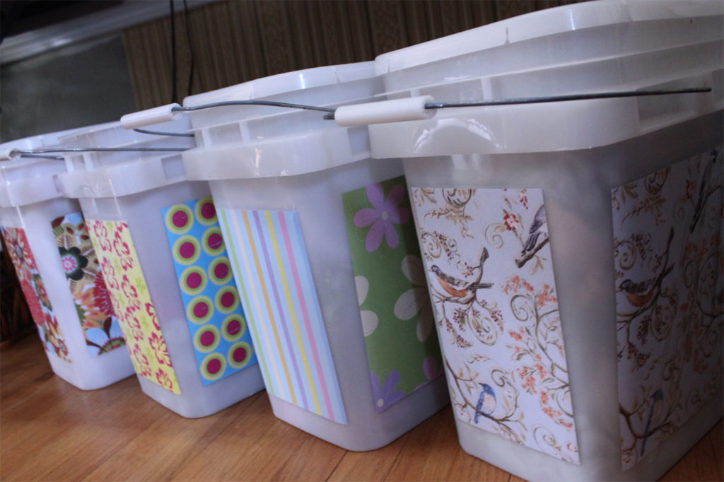 Fabric bins for sewing projects