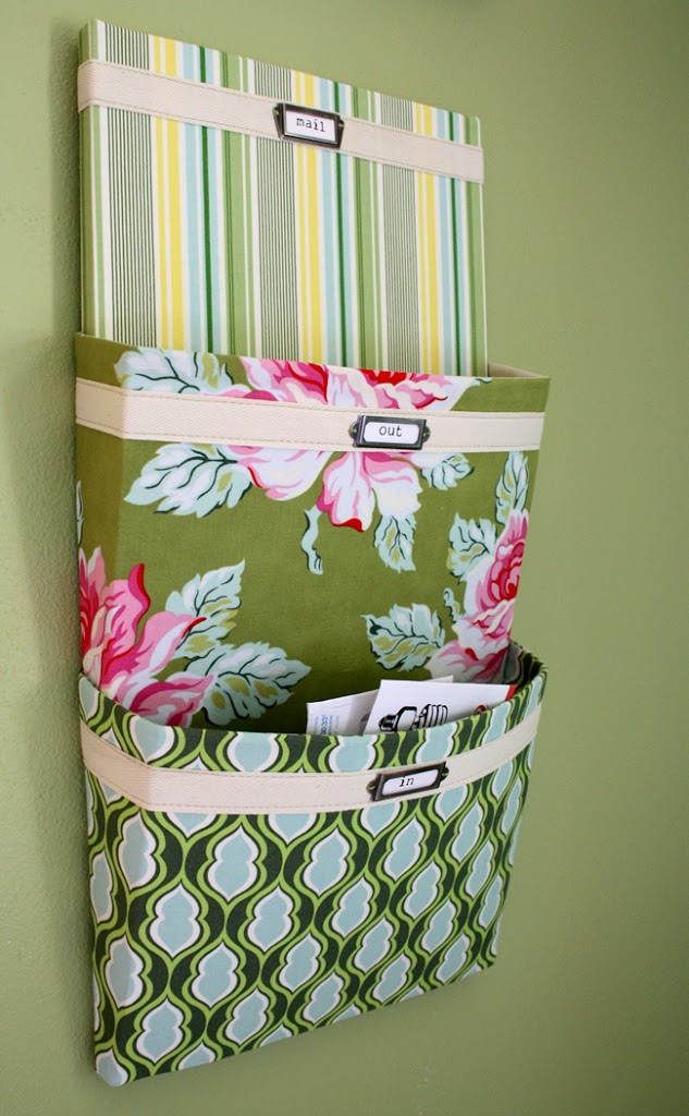 Fabric covered mail organizer