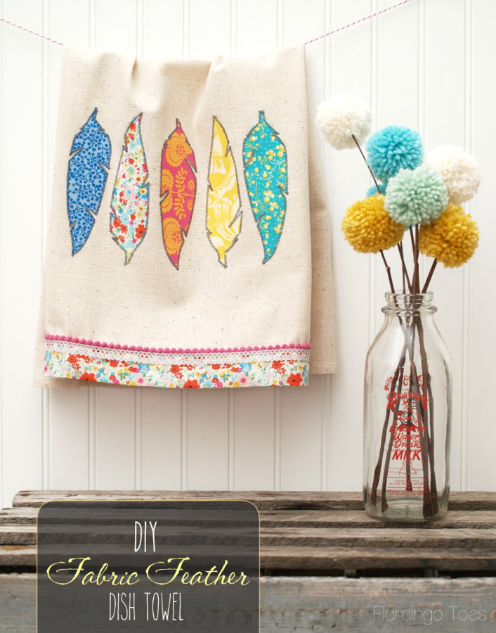 Fabric feather dish towel