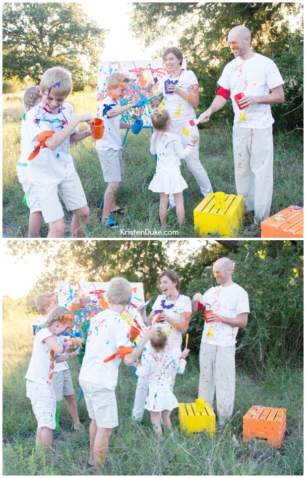 Family paint fight photoshoot