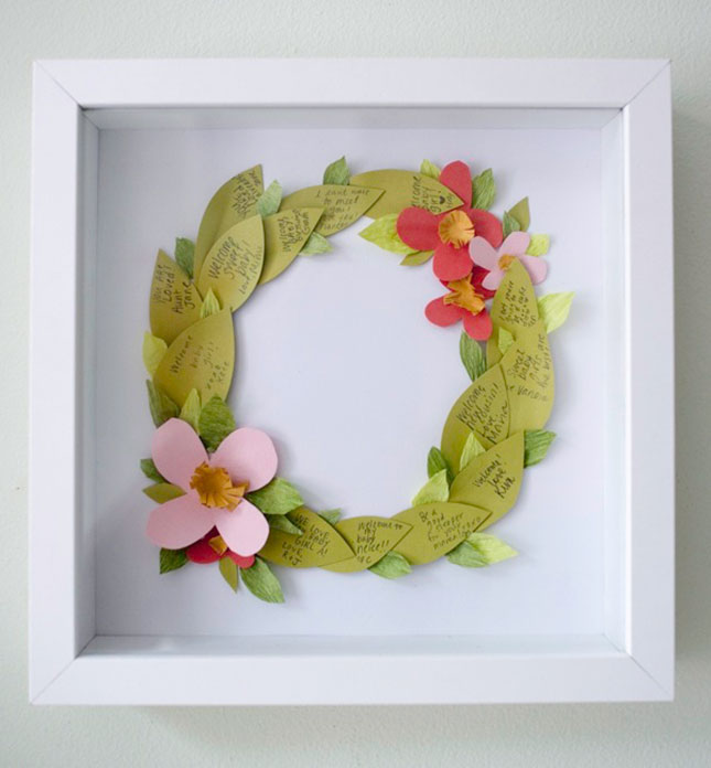 Floral wreath guestbook shadow box