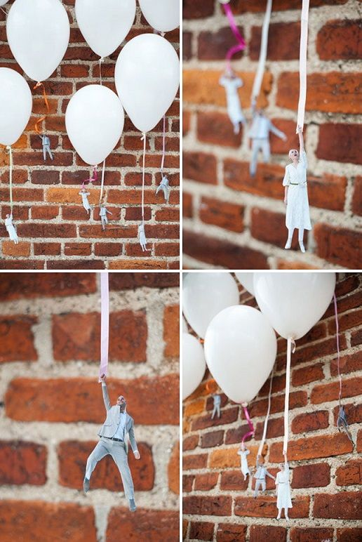 Flying wedding couple balloons