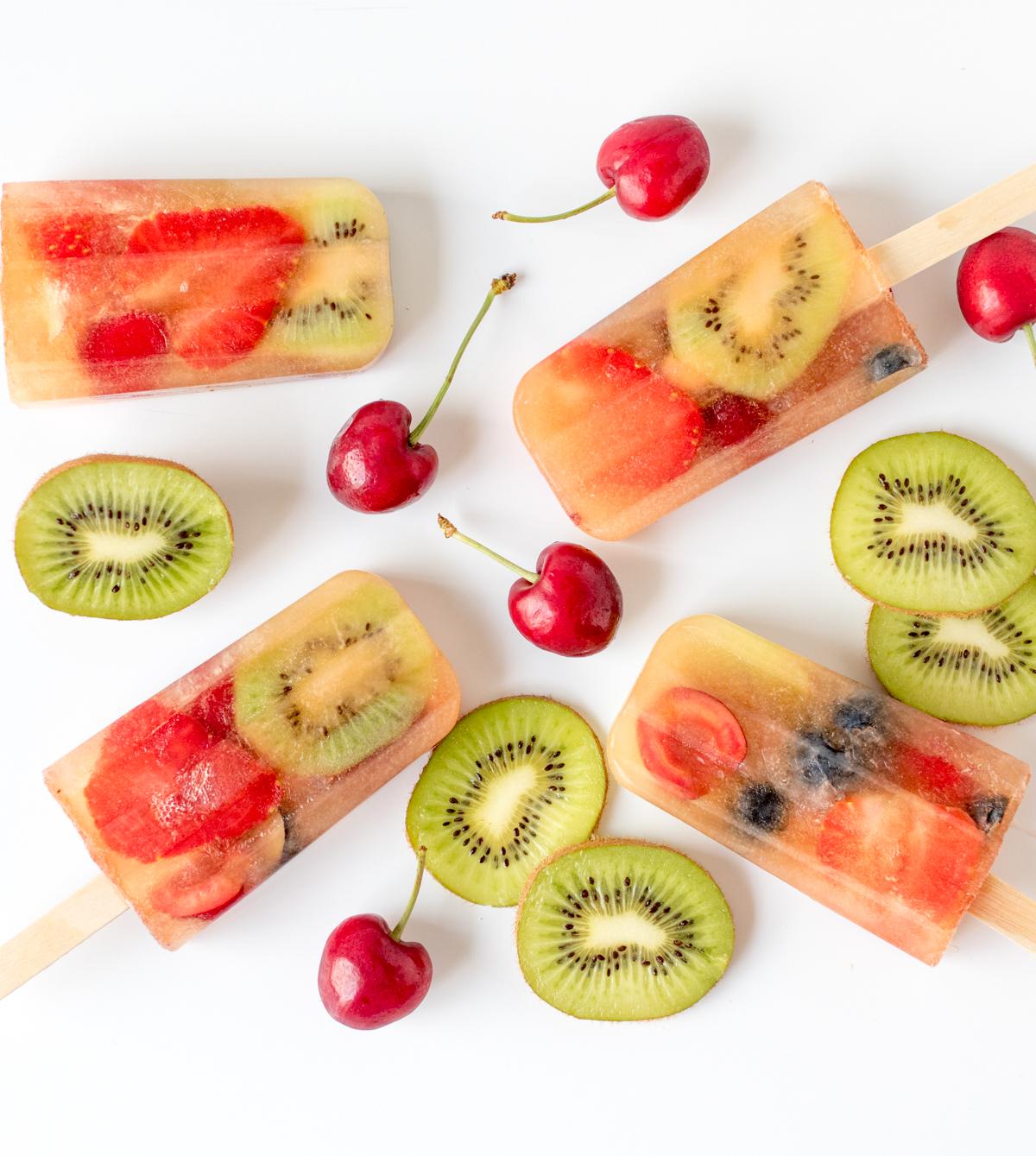Fresh fruit popsicles tall